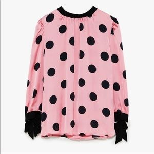 Zara Pink & Black Polka Dot Top